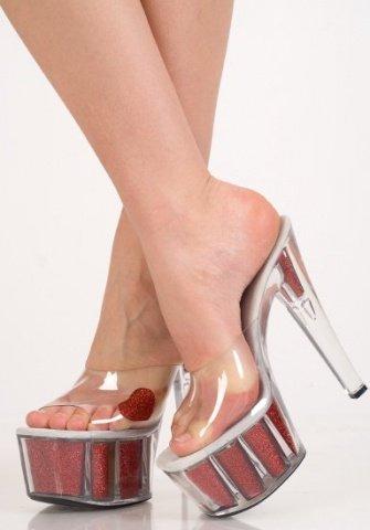 Туфли прозр. с красным сердечком 39 р, фото 2