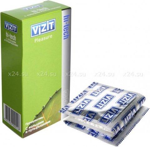 Презервативы vizit hi-tech pleasure с кольцами и пупырышками, 12 шт
