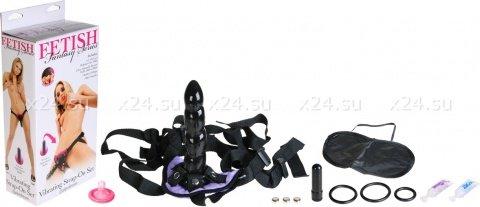 Виброфаллос поясной черн. + маска + 3 кольца 19 см