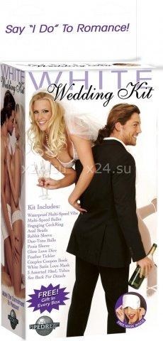 Набор для невесты (вибратор + насадка, шарики анал + вагин, вибр. пуля, кольцо, маска, кубики), фото 2