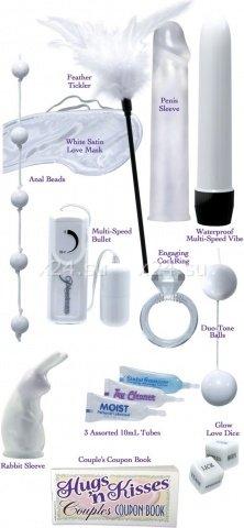 Набор для невесты (вибратор + насадка, шарики анал + вагин, вибр. пуля, кольцо, маска, кубики)