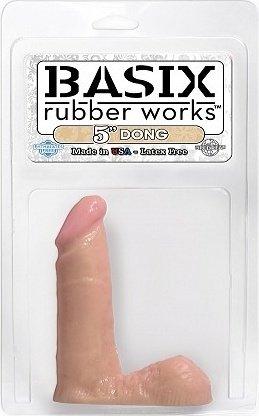 Телесный фаллоимитатор с мошонкой basix 5in pd4200-21 13 см