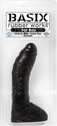 Имитатор фаллоса черный с большой мошонкой basix 24 см