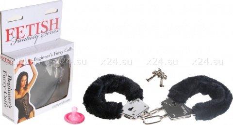 Наручники черные Beginner's Furry Cuffs, фото 3