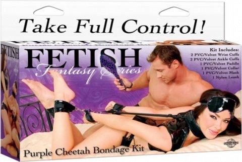 Набор для бондажа ffs: наручники + наножники + шлепалка + ошейник с поводком, фото 6