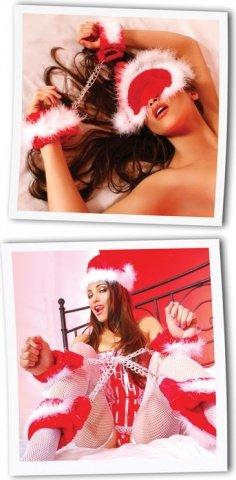 Набор новогодний: наручники + наножники + шапочка снегурочки + маска, фото 4