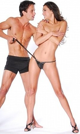 Кожаные стринги с поводком leather panties and leash set, фото 4