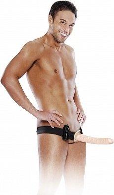 Страпон мужской 10 в Vibrating Hollow с вибрацией телесный 25 см, фото 5