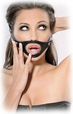Кляп 3 в1: металлическая цепочка, кожанный кляп-шарик и кляп Открытый рот