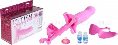 Фаллоимитатор поясной для него и для нее 7 розовый, силикон 18 см