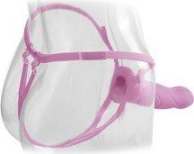 Фаллоимитатор поясной для него и для нее 7 розовый, силикон 18 см, фото 4