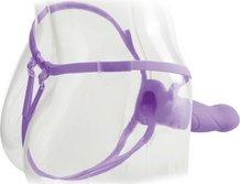 Вибратор поясной для него и для нее 7, 7 режимов вибрации, фиолетовый, силикон 18 см, фото 4