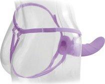 Вибратор поясной для него и для нее 8, 7 режимов вибрации, фиолетовый, силикон 20 см, фото 4
