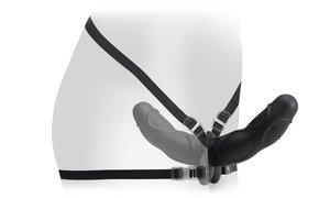 Фаллоимитатор поясной двойной 8 черный + маска + смазка 25 см, фото 3