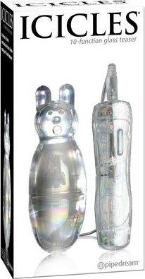 Стеклянный вибромассажер в виде зверушки icicles (10 режимов) 10 см, фото 4