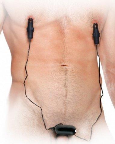 Клипсы мужские для сосков груди + эрекц. кольцо с вибратором fetish fantasy series, фото 3