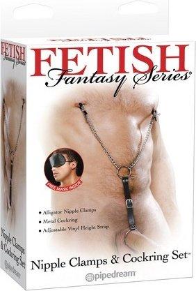 Клипсы мужские для сосков груди + эрекц. кольцо, на сцепке, fetish fantasy series, фото 4