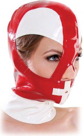Маска-шлем красный с белым, фото 2