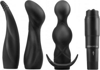 Набор для анального секса с тремя заменяемыми насадками и вибратором 11 см