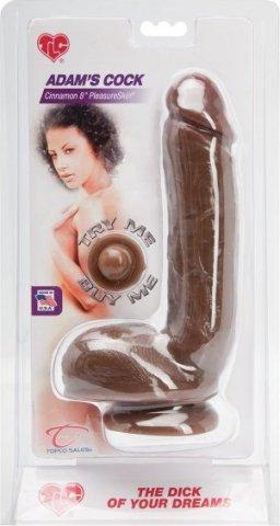 Реалистичный фаллоимитатор на присоске 16,5 см PleasureSkin, цвет Коричневый