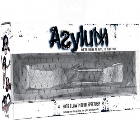 Расширитель для рта с ошейником Asylum Hook Claw Mouth Spreader белый, фото 2