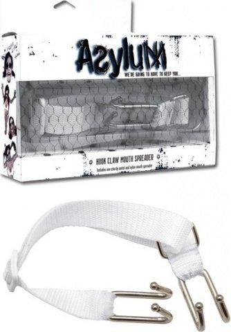 Расширитель для рта с ошейником Asylum Hook Claw Mouth Spreader белый, фото 3