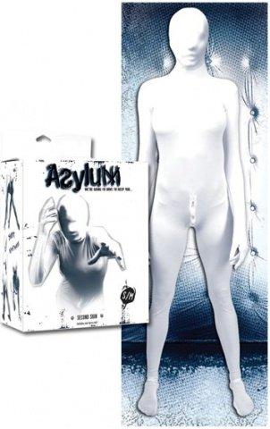 Кэтсьюит Asylum с маской на голову, белый, S/M, фото 3