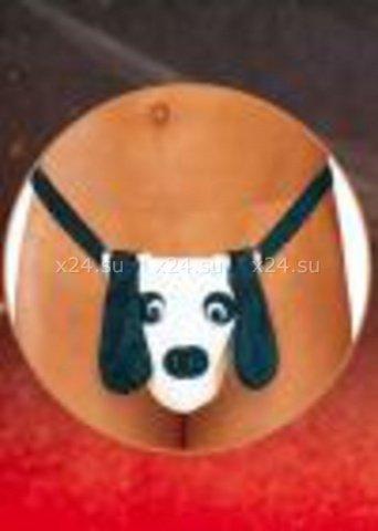 Стринги мужские фантазийные Собака черно-белые