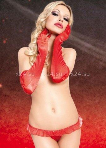 Перчатки длинные красные-S/L