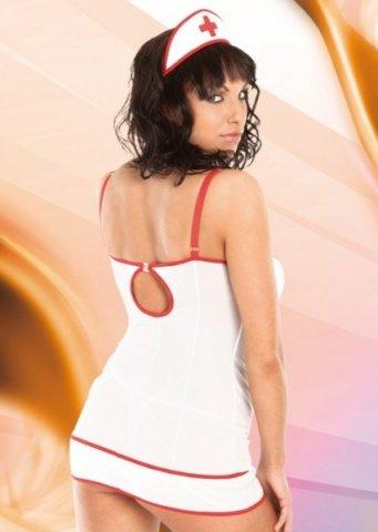 бел `тина` комплект медсестра: комбинация, стринги, повязка на голову, фото 2