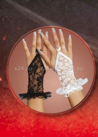 Кружевные белые перчатки с рюшами, фото 2