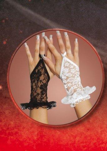 Кружевные белые перчатки с рюшами, фото 3