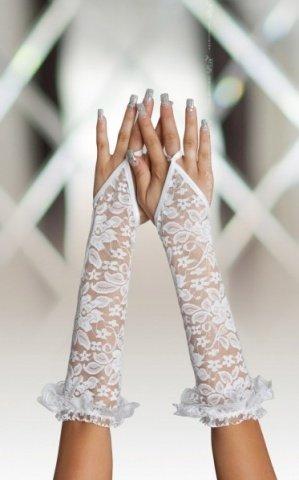 Перчатки белые ажурные