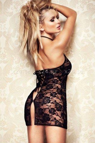 Мини-платье черное ажурное со стразами, фото 4