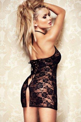 Мини-платье черное ажурное со стразами, фото 6