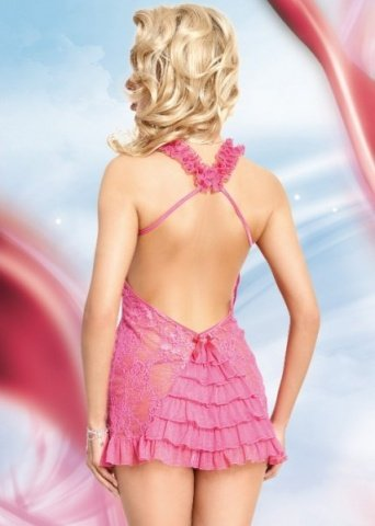 роз сорочка `mia` кружевная с открытой спиной и бретельками крест накрест + стринги