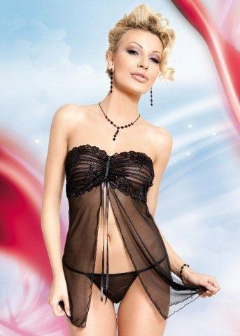 Ночная сорочка и стринги черные, фото 4
