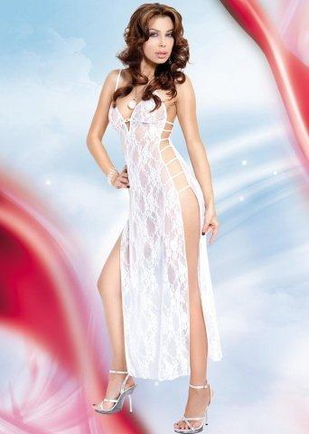 Длинная ночная сорочка и стринги белые-S/M, фото 2