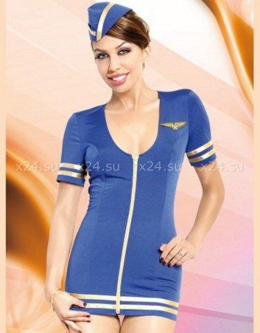 S/m секс-униформа стюардессы: платье на замочке + пилотка, фото 2