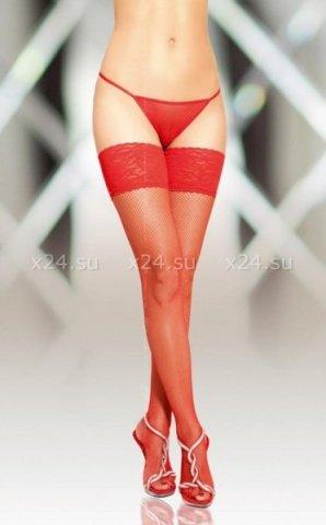 Чулки-сетка шов красные-XL