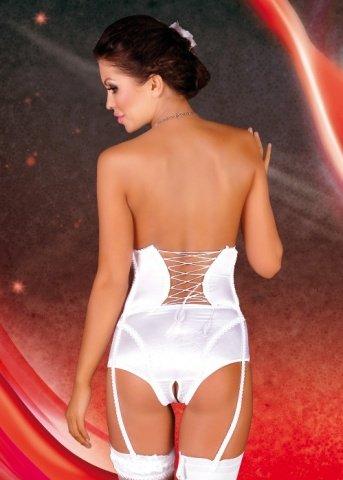 S/M бел Корсет на талии Laila на шнуровке сзади + трусики с разрезом + подвязки