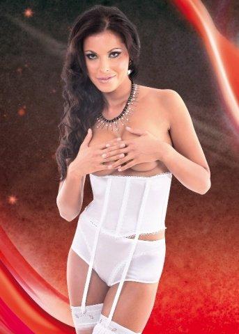 S/M бел Корсет на талии Laila на шнуровке сзади + трусики с разрезом + подвязки, фото 3