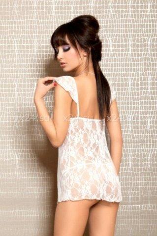 Ночная кружевная белая сорочка со стрингами SM, фото 2