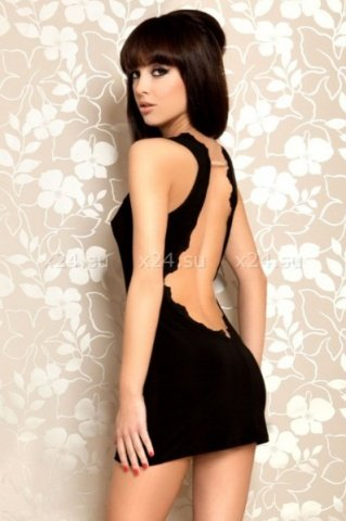 Платье черное стрейчевое с открытой спиной, фото 2