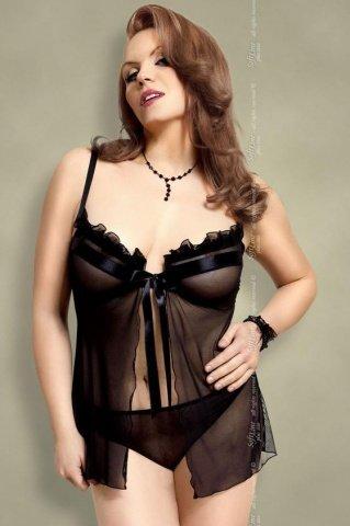 Ночная сорочка и стринги черные-XL