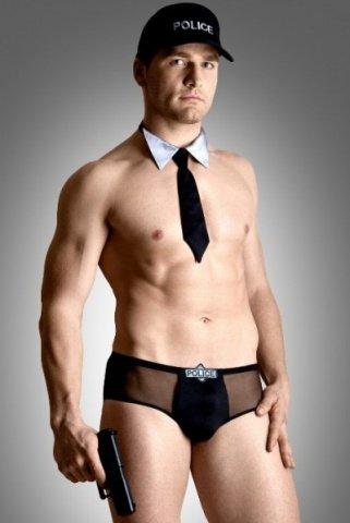 Костюм полицейского мужской (шорты, галстук, кепка)-M/L