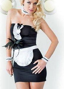 чер костюм горничной: платье, передник, подвязки, фото 4