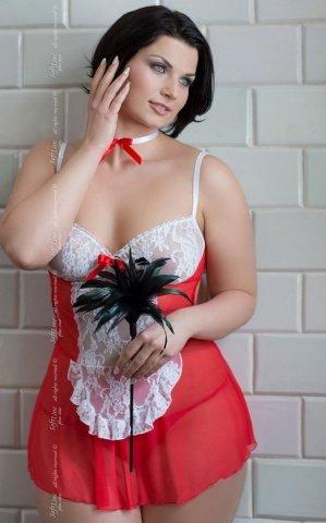 XL красн Игровая сорочка Fifi прозрачная с ленточками на шее и руке, фото 3