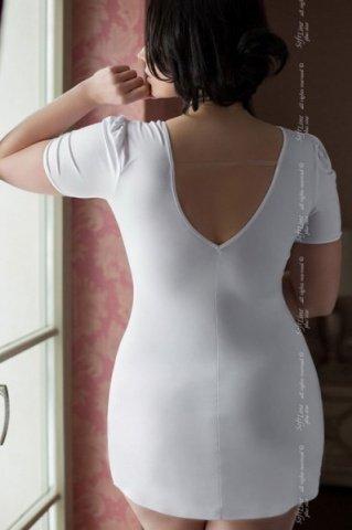 Xxxl бел игровое платье doctor с v-образным вырезом на груди и спине + маска на лицо, фото 2