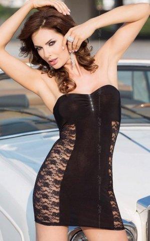 чер Платье без бретель со стразами на бюсте и кружевными боками
